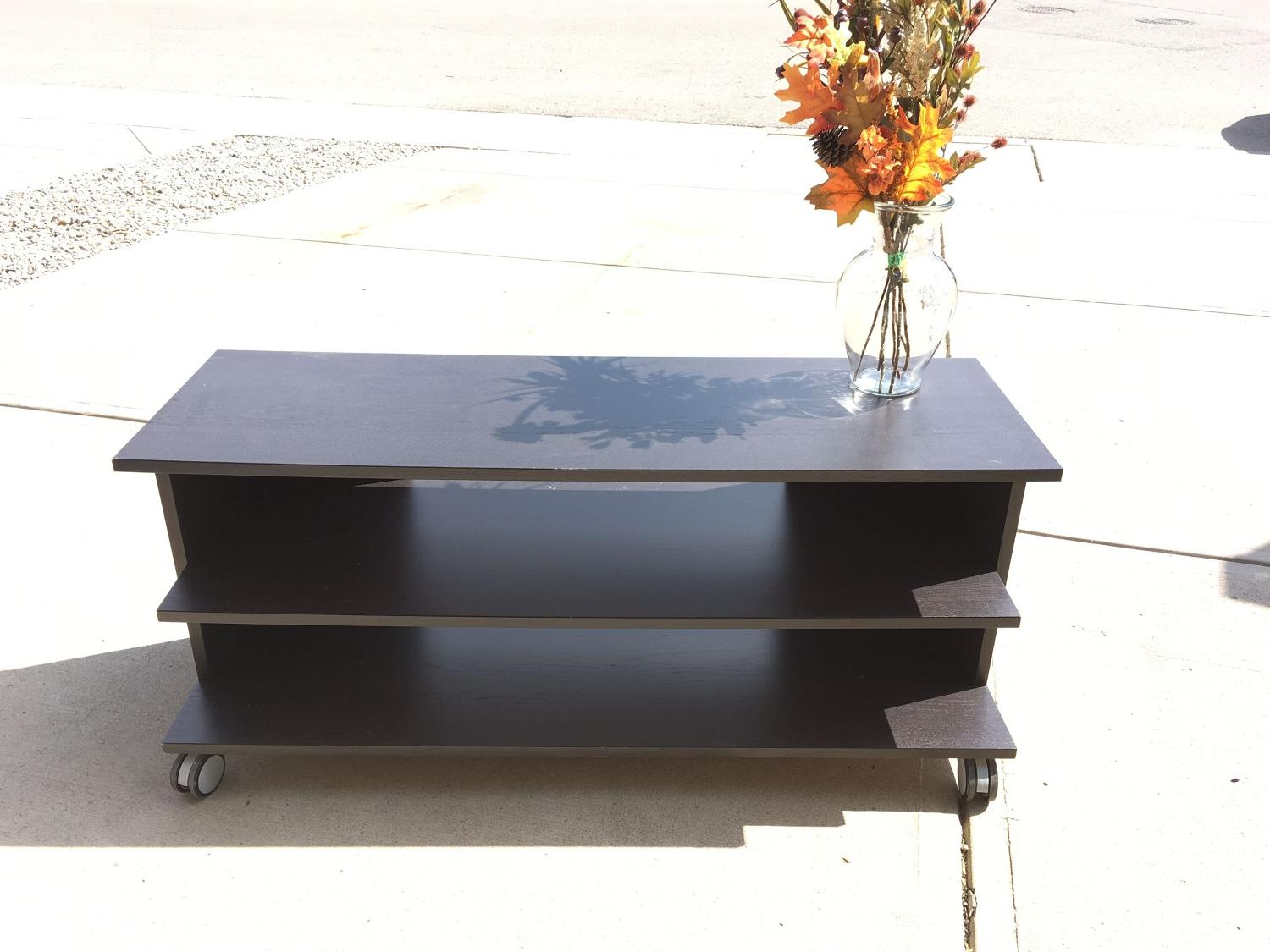 best ikea dark wood tv stand or shelf on wheels for sale in airdrie alberta for 2017. Black Bedroom Furniture Sets. Home Design Ideas
