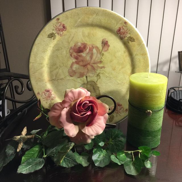 Find More Beautiful Plate Decor With Floral Rose Candle For Sale