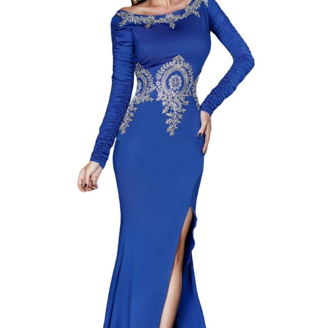 835dce3dbef46 Prom Dress Gold Lace Applique Royal Blue Long Sleeve Evening Gown