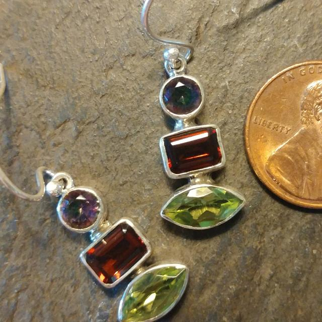 80e76e31c Find more Peridot, ❤garnet, & Rainbow Topaz Earrings for sale at up ...