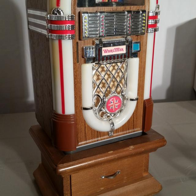 Vintage Mini Wurlitzer Jukebox with tapes & storage base