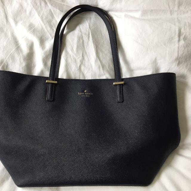 d506b9269683e Best Kate Spade Small Leather Tote Bag In Navy Blue for sale in Brockton  Village