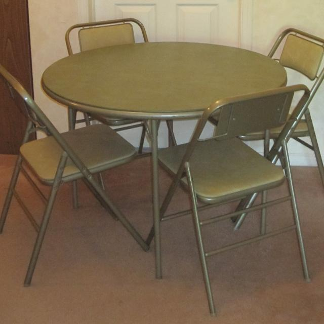Best Vintage Samsonite Round Foldable Card Table And Four