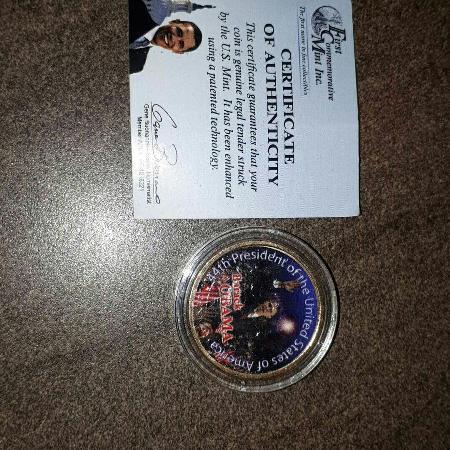 Barack Obama commemorative golg $1 coin for sale  Canada