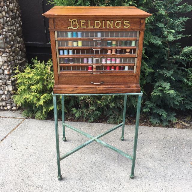 Beldings sewing thread cabinet antique solid oak wood - Find More Beldings Sewing Thread Cabinet Antique Solid Oak Wood For