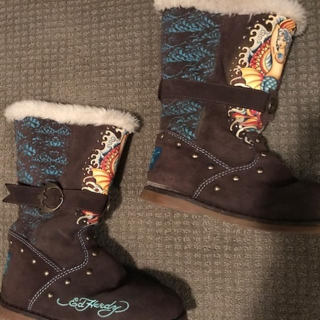 f7fc3f9414 Best Very Cozy Ed Hardy Brown Suede Boots for sale in Calgary ...