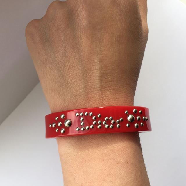 Dior Red Lucite Bangle Bracelet