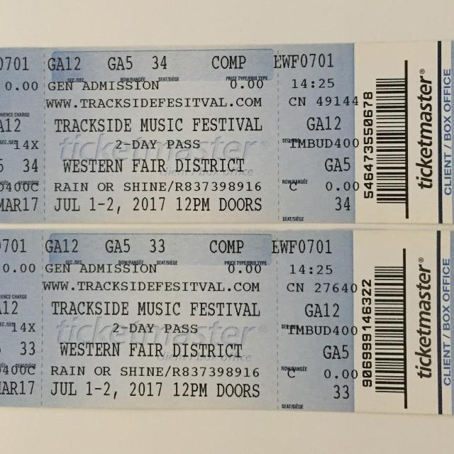 2 Trackside Music Festival Tickets