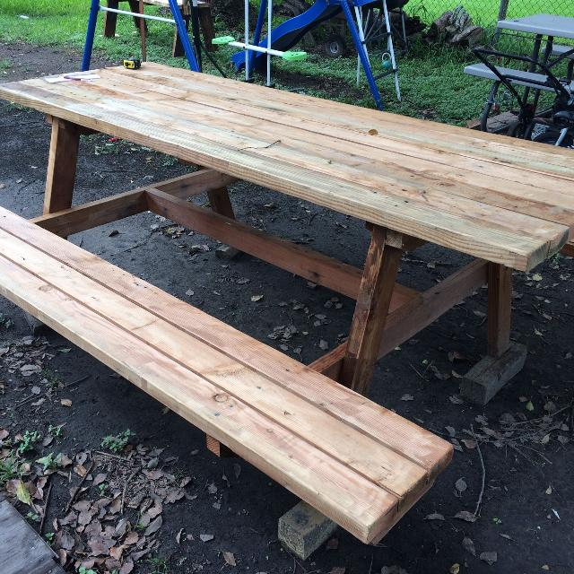 Find More Big Red Rustic Picnic Table Long Deep High Seats - Long picnic table for sale