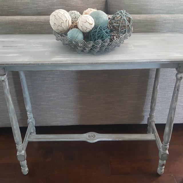 Solid Wood Gray And White Washed Sofa Table Entry