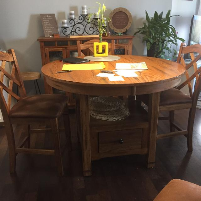 Slate Dining Room Table: Best Solid Oak With Slate Inlays Dining Room Table And Six