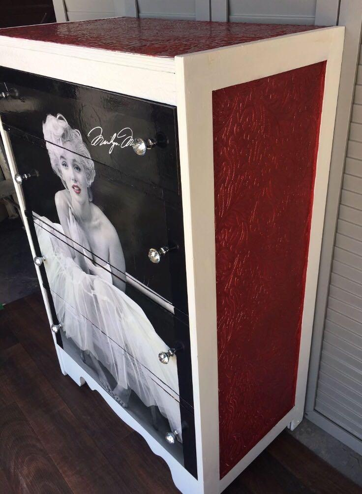 Find More Red & White Marilyn Monroe 4 Drawer Solid Wood