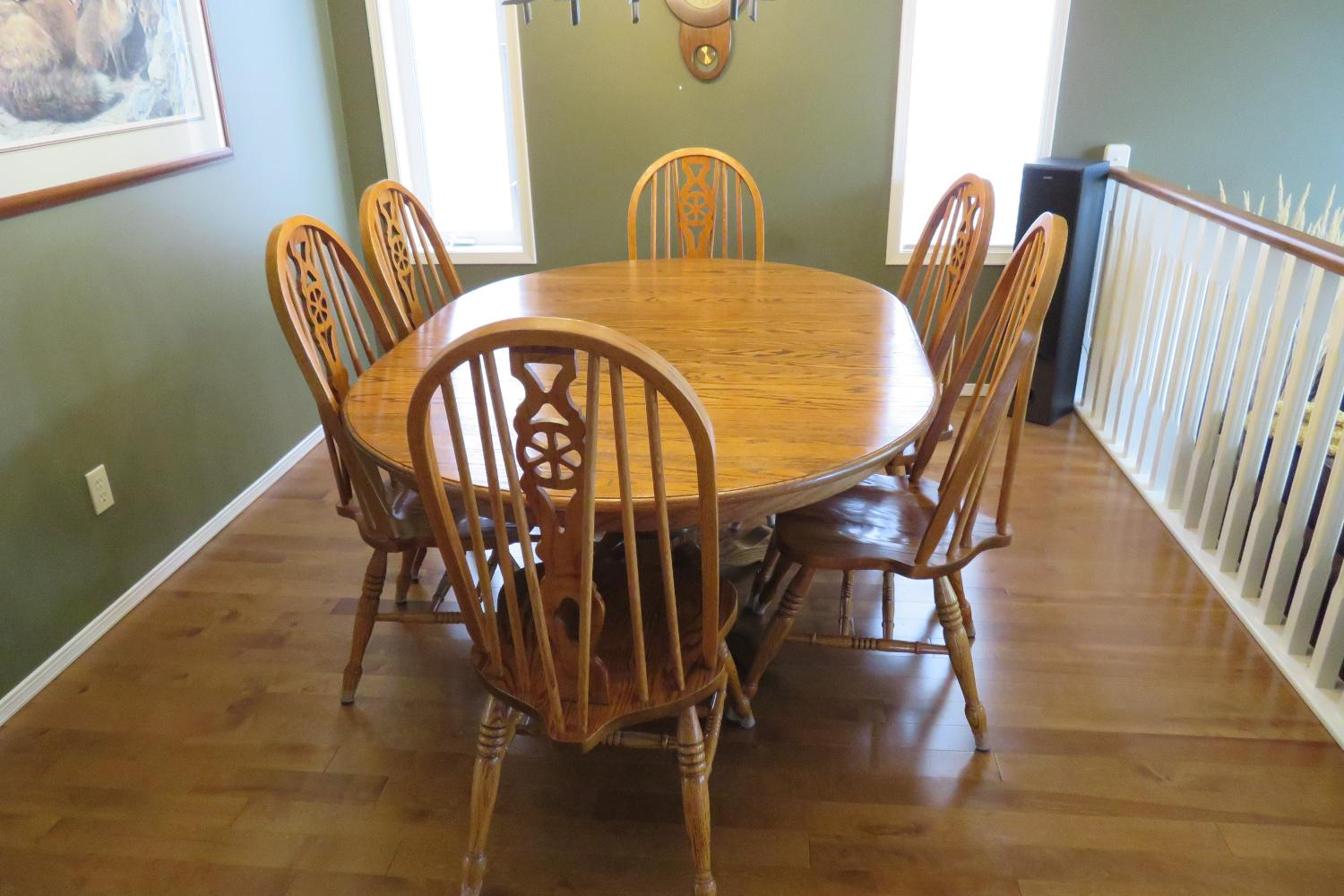 best solid oak dining room table and 6 chairs for sale in
