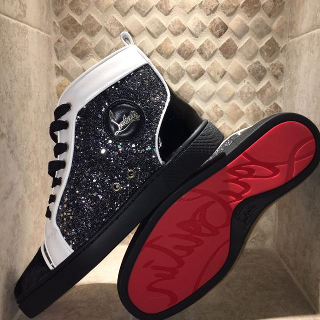 af06ad55a62 Christian Louboutin Black Strassed Louie Red Bottoms
