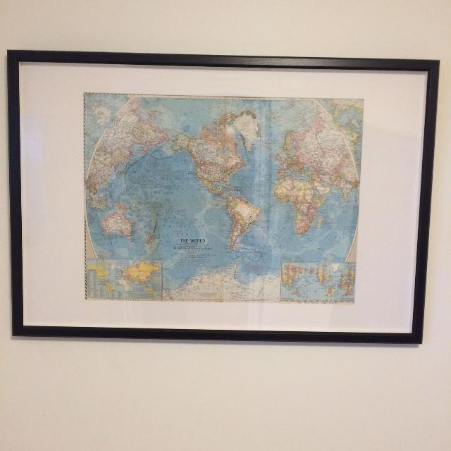Find more framed national geographic world map1960 for sale at up framed national geographic world map1960 gumiabroncs Gallery
