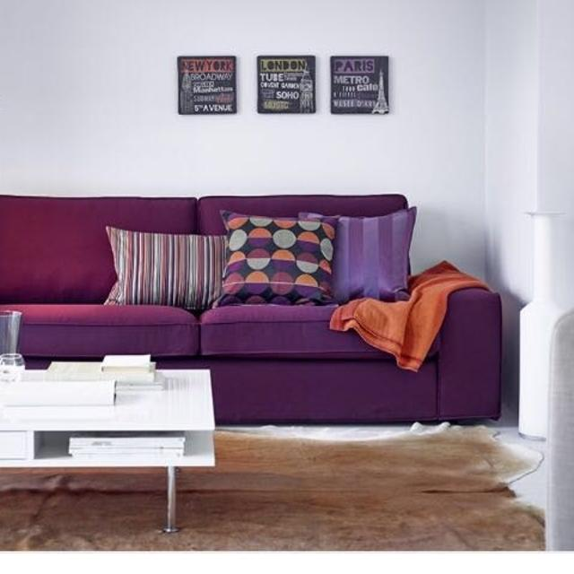 Plum Colour Ikea Kivik Sofa Cover Only