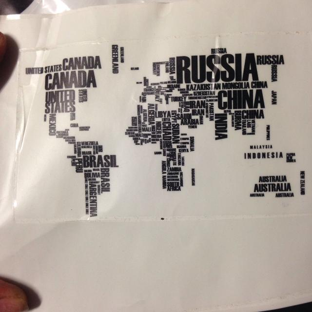 vinyl wall art word world map