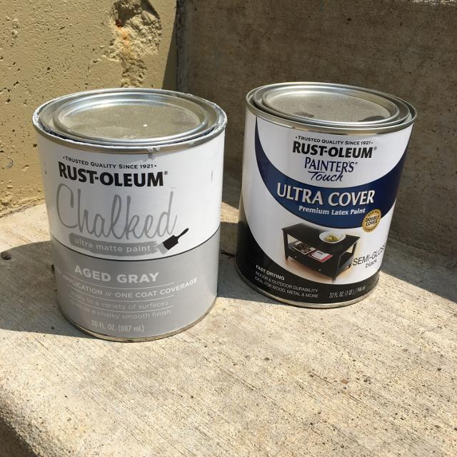 NEW Rustoleum ultra cover semi gloss black, half used but newly opened  Chalked aged gray paint selling together