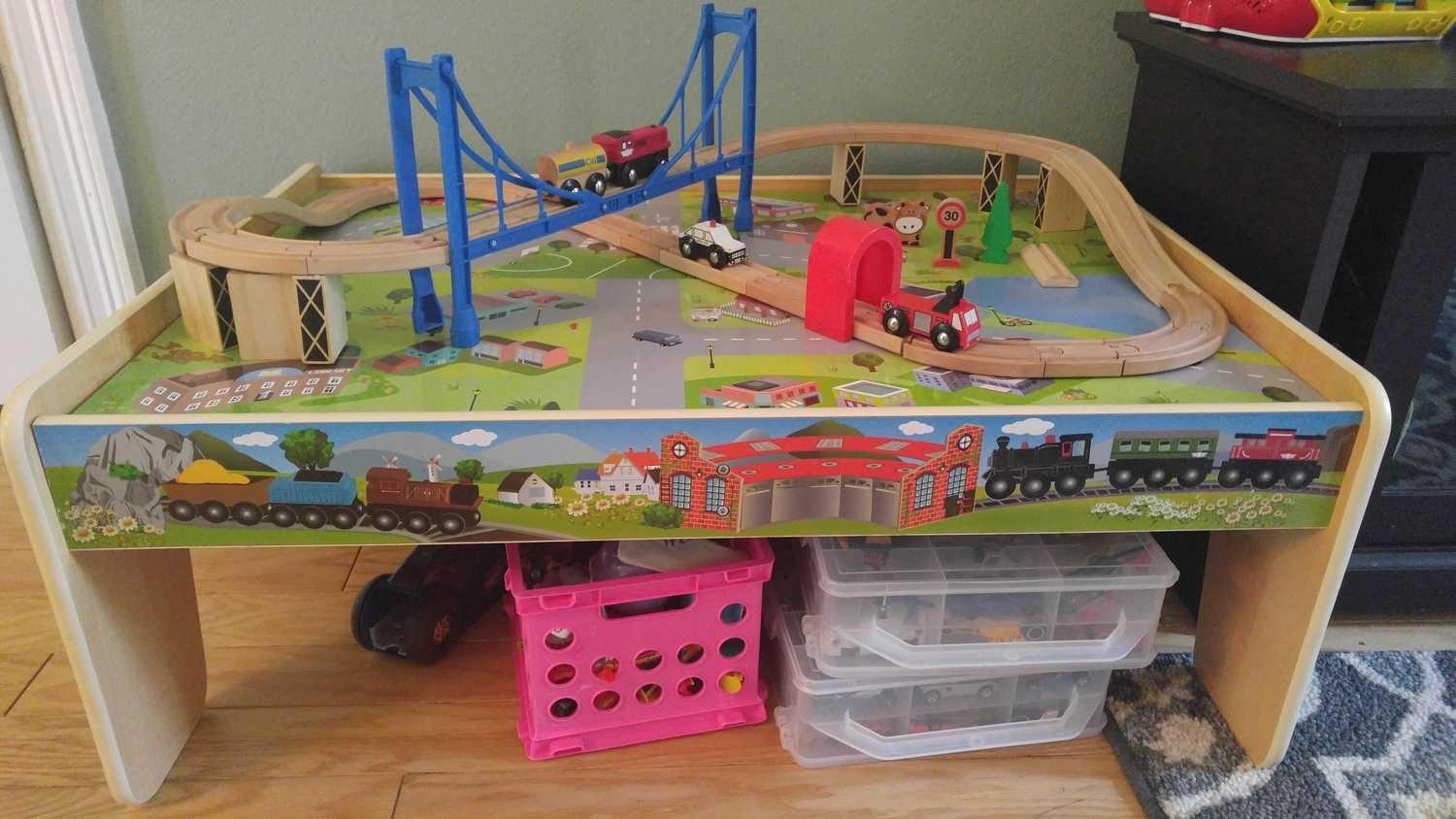 Train table with chalkboard