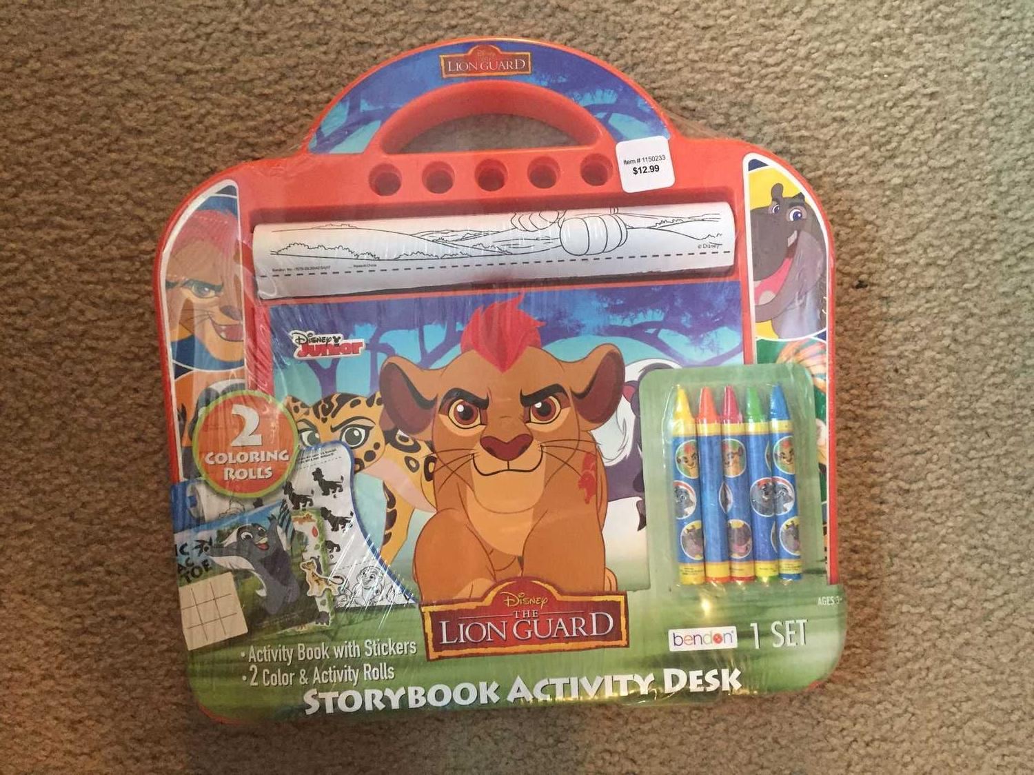 Lion Guard Storybook Activity Desk  Includes:Lap Desk, Activity Book &  Stickers,5 Chunky Crayons & 2 Colour Rolls Brand New in plastic wrap!
