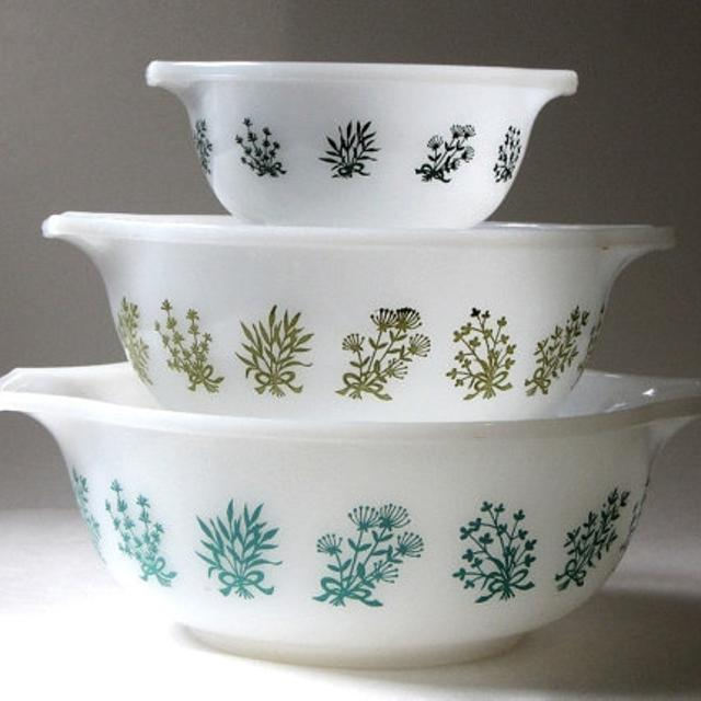 Best Rare Vintage Glasbake Flowering Herb Nesting Mixing Bowls for ...