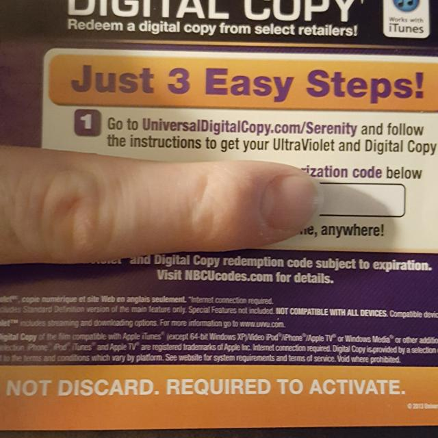 Vudu/UV HD Digital Movie Codes