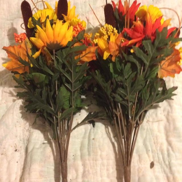 "Fall floral artificial flowers with cat tails 2 picks 22"" #46"