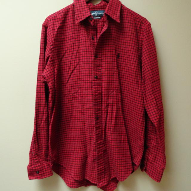 bc7a69ced Find more Ralph Lauren Red black Plaid Flannel Shirt M for sale at ...