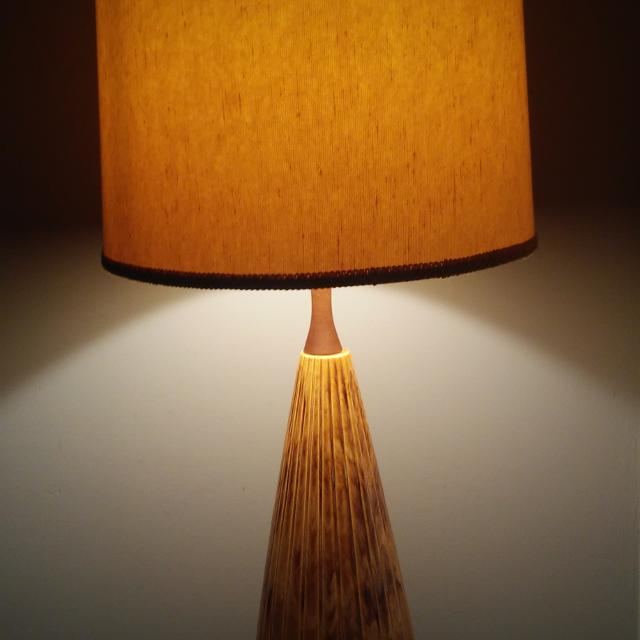Mcm ceramic and teak lamp