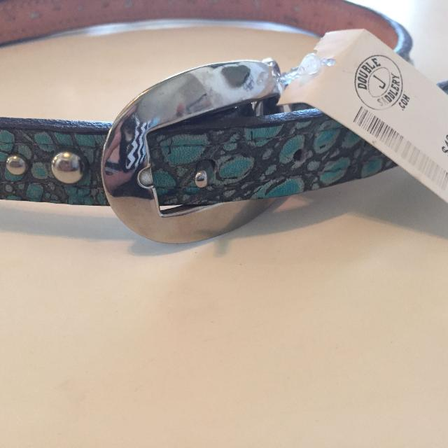 Brand new Double J saddlery dog tag with tags  Turquoise with rhinestones