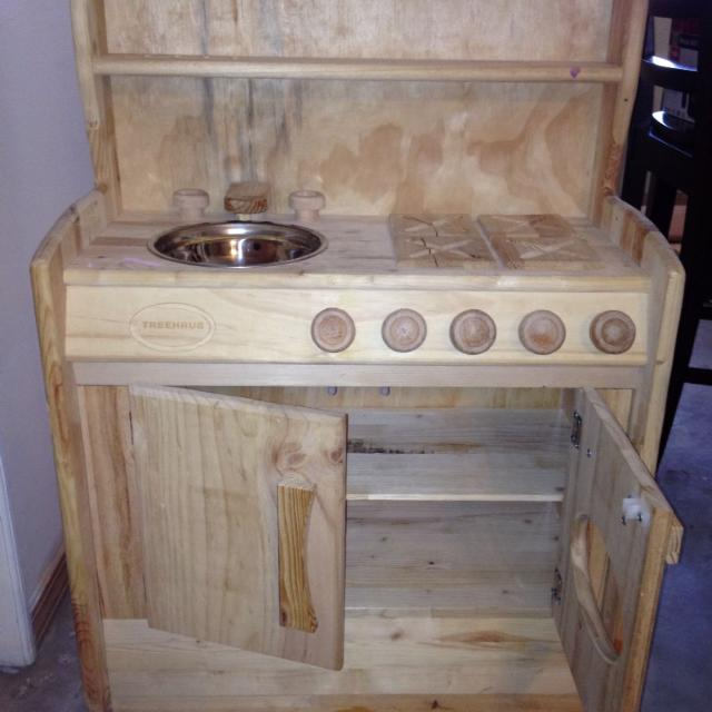 Treehaus wooden play kitchen. Perfect condition. Asking $40.