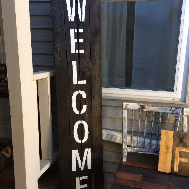 6ft Tall Wooden Welcome Sign