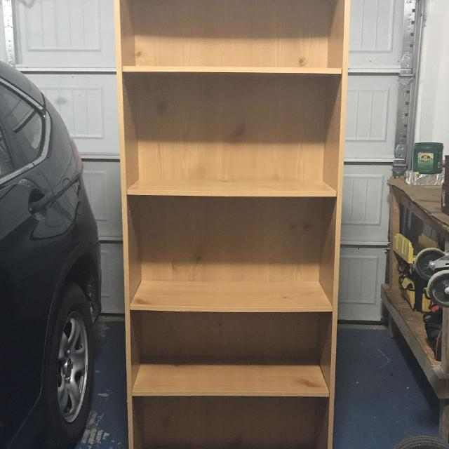 6 Foot Tall 4 Shelf Honey Colored Bookshelf