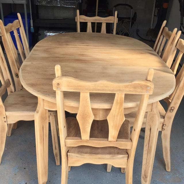 Solid Wood 8 Piece Dining Table 6 Chairs