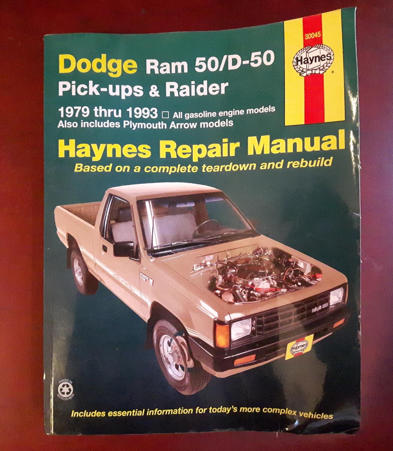 Best Haynes Repair Manual - Dodge Ram 50d-50 Pick-ups & Raider 1979 Thru  1993 - $15.00 - Gibsons - Cross Posted for sale in Gibsons, British  Columbia for ...