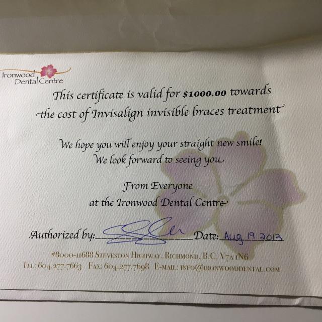 Invisalign Gift Certificate - Ironwood Dental