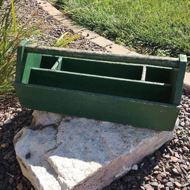 Antique Wooden Carpenters Tool Box Caddy Green Divided Organizer Lsk Ff