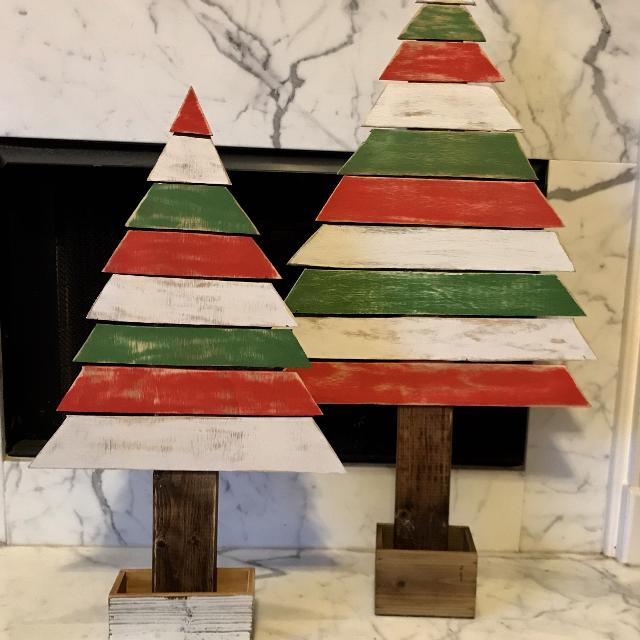 Wooden Christmas Trees.Rustic Wooden Christmas Trees