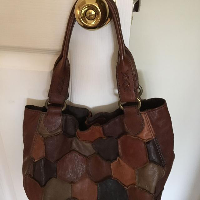 Gorgeous Lucky Brand Leather Handbag Brown Patchwork