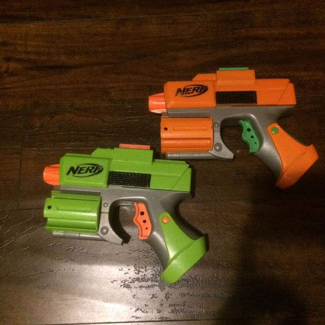 Put a small nerf gun in and put toothpicks through the bullets to