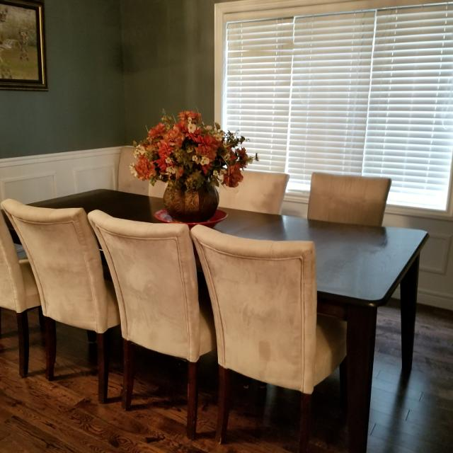 8 Seater All Wood Dining Room Set Suede Chairs
