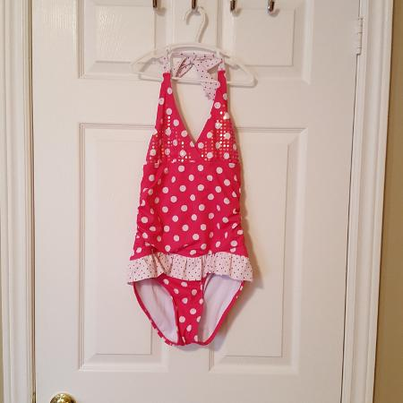 b381af237f Justice Girls One-piece Swim Suit ~ Hot Pink and White Polka Dots~ Sz