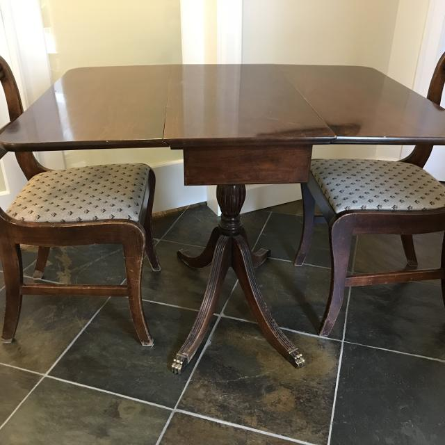 Find More Antique Mahogany Duncan Phyfe Drop Leaf Table With Two Chairs Versatile And Convenient For Small Spaces For Sale At Up To 90 Off