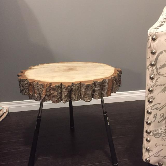 Best Handmade Live Edge Log End Table With Golf Club Legs Has A - 17 inch high coffee table
