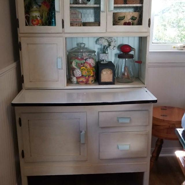 Hoosier Cabinet. Euc. Chalk painted and waxed.