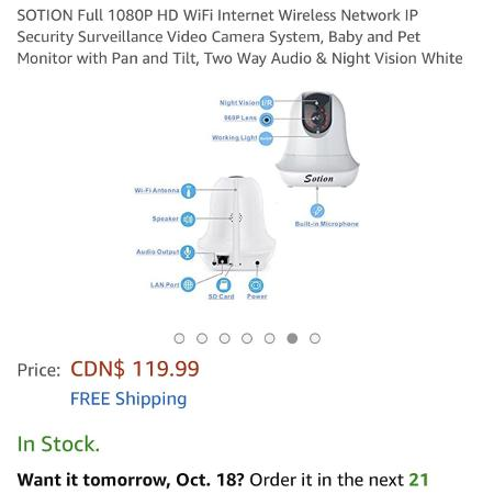 Used, Sotion 1080p wifi baby monitor for sale  Canada
