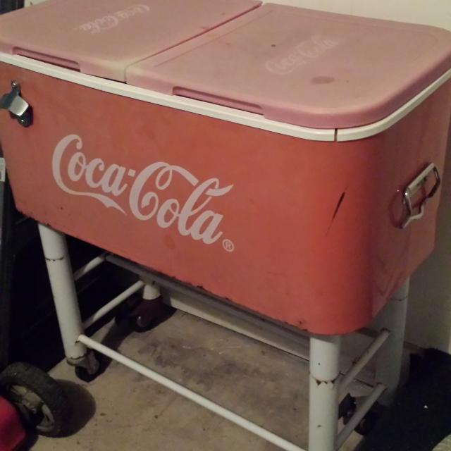 Coca-Cola cooler on stand