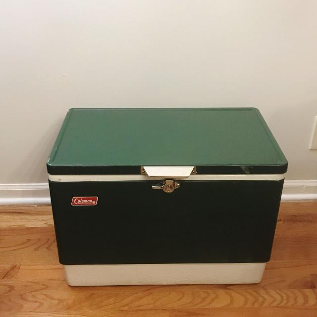 Vintage Coleman USA Green & White retro metal camping Cooler with side  Bottle Openers Ice Chest