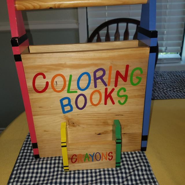 Wooden Coloring book and crayon holder