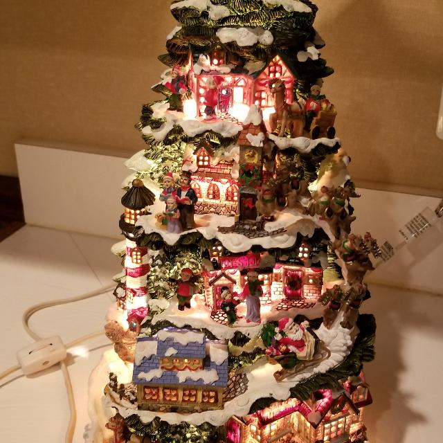 ceramic tabletop lighted christmas tree village